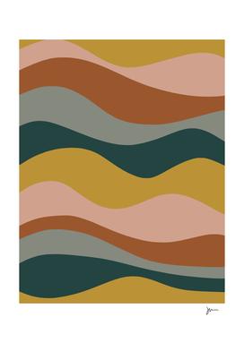 Smooth Waves Retro Stripes Mustard, Blush, Blue, Rust, Grey