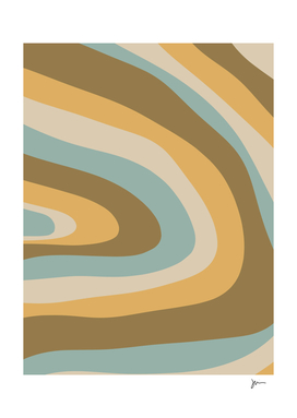 Organic Topography 2 Abstract Stripes in Cyan and Gold