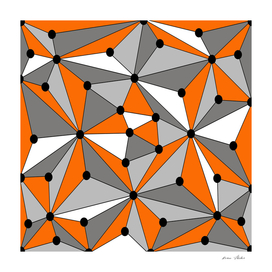 Abstract geometric pattern - orange, gray and white.
