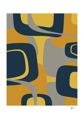 Mid Century Modern Mooma 3 Abstract in Navy, Mustard, & Gray