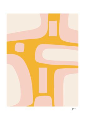 Retro Stones Minimalist Midcentury Modern Abstract Mustard