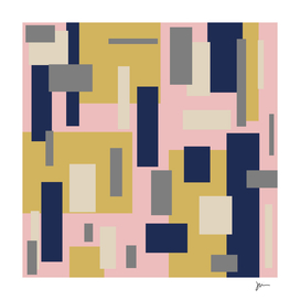 Modern Geometric Color Block in Mustard, Pink, and Navy Blue