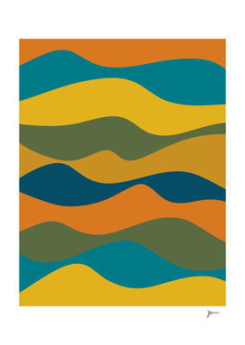 Retro Waves Abstract in Blue, Orange, Green, and Yellow