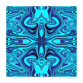 Acrylic pour blue pattern