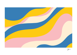 Retro Color Waves Abstract in Bright Blue, Pink, and Mustard