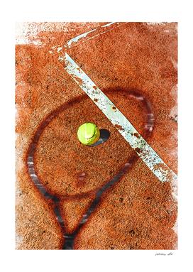 Tennis Ball & Racket On Court Marker