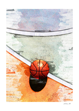 Basketball On Court Geometric Marker