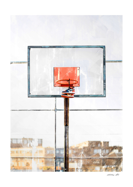 Air Jordan Attached To Basketball Hoop