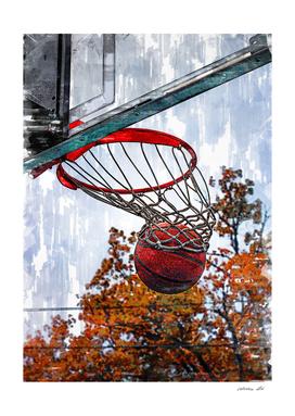 Basketball In The Hoop Marker Sketch