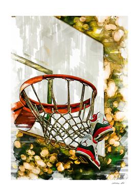 Air Jordan Tied To Basketball Hoop