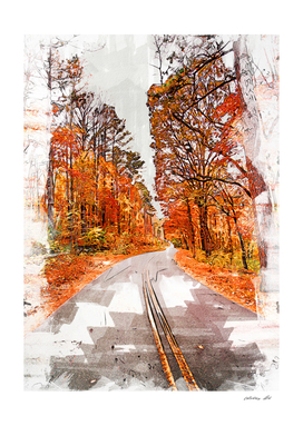 Foresty Autumn Drive Marker Sketch