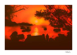 Sunset at Caribbean Bay of Taganga Colombia