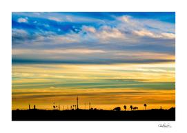 sunset Silhouette Countryside Landscape Scene