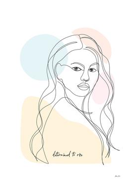 Line-Art Woman Portrait - Determined to rise