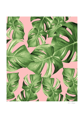 Monstera Leaves Blush Summer Vibes Pattern #1 #tropical