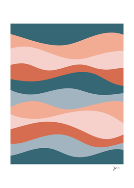 Smooth Waves Blush and Blue Soothing Abstract Pattern
