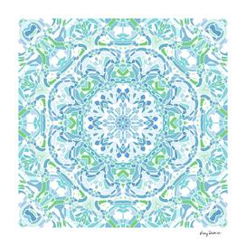 Blue, Green and White Mandala