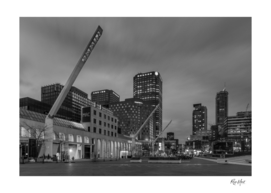 Black and white downtown Montreal