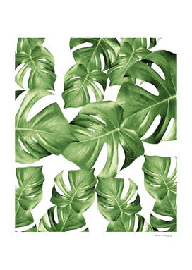Monstera Leaves Green Summer Vibes Pattern #1 #tropical