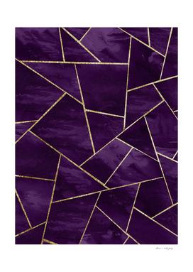 Dark Purple Ink Gold Geometric Glam #1 #geo #decor #art