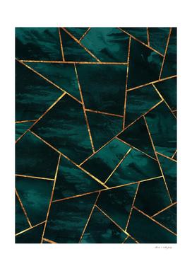 Dark Teal Ink Copper Gold Geometric Glam #1 #geo #decor #art