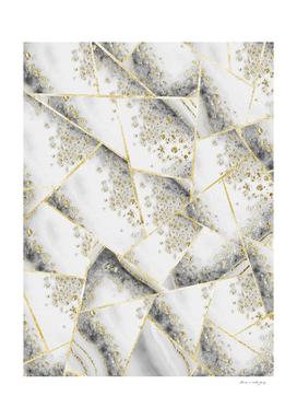 White Agate Gold Geometric Glam #1 #geo #gem #decor #art