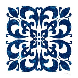 Baroque inspired tile art in blue hues