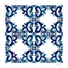 Blue carved tile ceramic effect