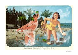 Vintage Postcard Collage: Beach Scene at Twanah State Park