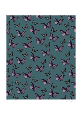 Teal Lavender & Black Butterfly Glam #1 #pattern #decor #art