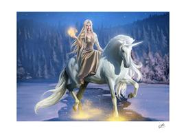Elven Girl and Unicorn