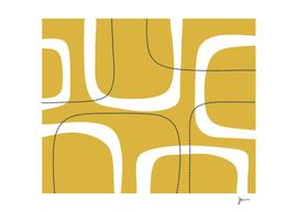 Retro Loops & Dots Midcentury Modern Abstract Light Mustard
