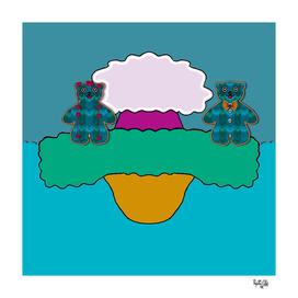 Cartoon sea earth and a sky with bohemian bears