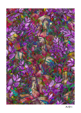 Floral Abstract Stained Glass G175