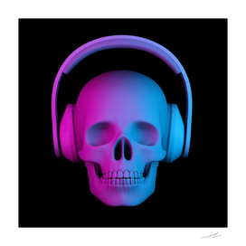 human skull in headphones
