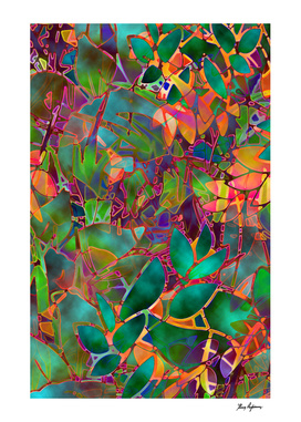 Floral Abstract Stained Glass G176