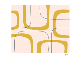 Retro Loops and Dots Midcentury Modern Pattern Pink Mustard