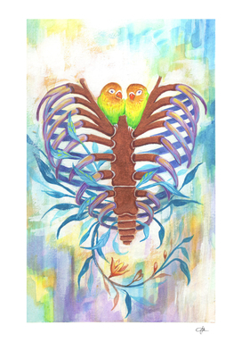 Colorful Cute Love Bird & Skeleton Heart