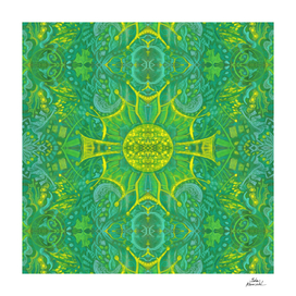 Butterfly Forest Bohemian Arabesque Pattern Green Yellow