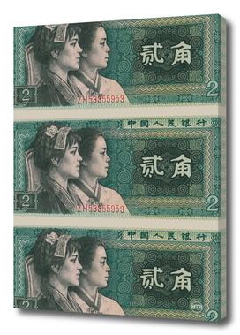 2 yuan chinese banknote collage