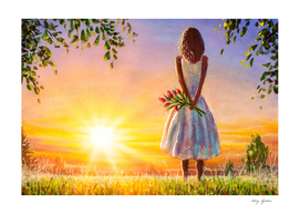 Beautiful girl with bouquet of flowers in summer field