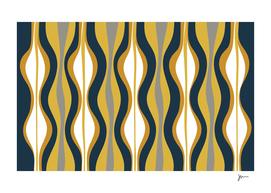Midcentury Modern Hourglass Abstract Pattern Mustard Navy