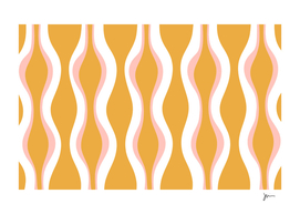 Hourglass Midcentury Modern Abstract Pattern Mustard & Blush