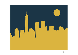 New York City Skyline Minimalist Abstract in Mustard & Navy