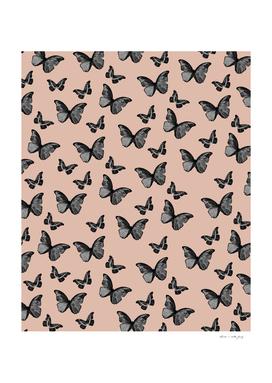 Black Pale Terracotta Butterfly Glam #1 #pattern #decor #art