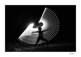 Light painting Yoga master