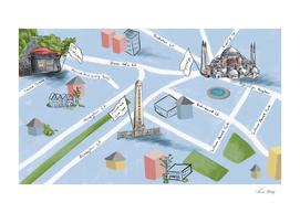 Istanbul Map Illustration 01