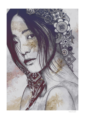 Stoic: Violet | asian woman portrait with mandalas