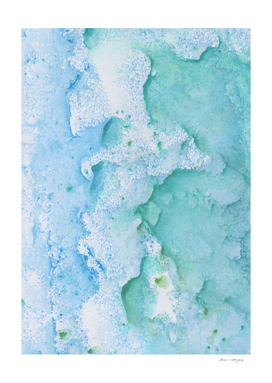 Touching Soft Turquoise Teal Blue Watercolor Abstract #1