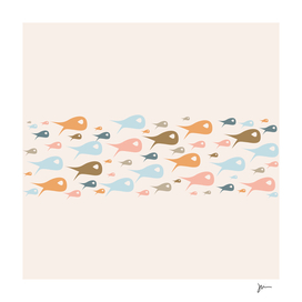 Fish Stripe - Pastel Minimalist Mid Century Modern